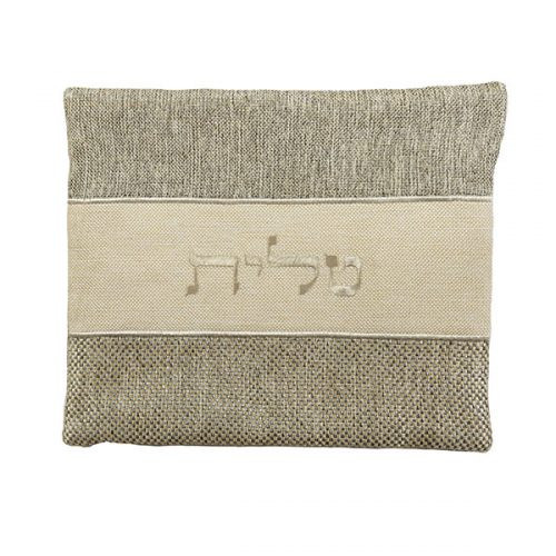 Mottled Gray and Beige Linen Tallit Bag