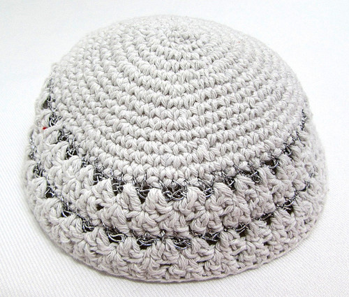 White-Silver Knitted Kippah