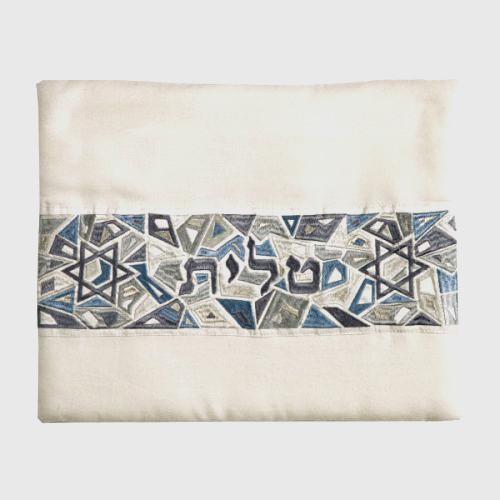 Blue-Gray Magen David Geometric Pattern Tallit Bag