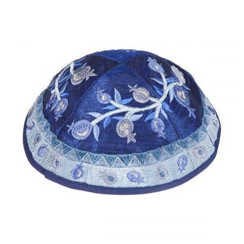 Blue Pomegranate Vine Kippah