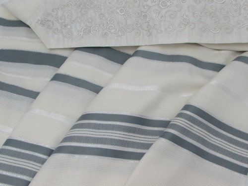 Gray Tashbetz Tallit with Pomegranate Motif
