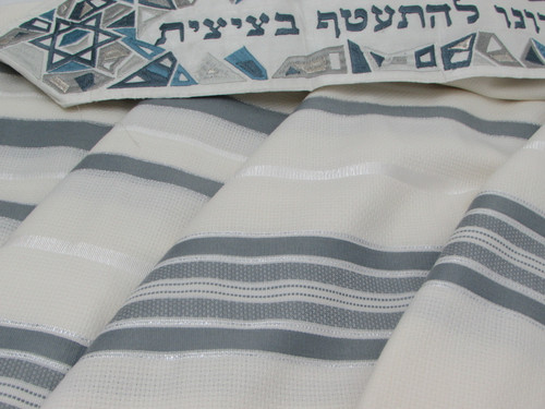 Gray Tashbetz Tallit with Geometrical Magen David Motif