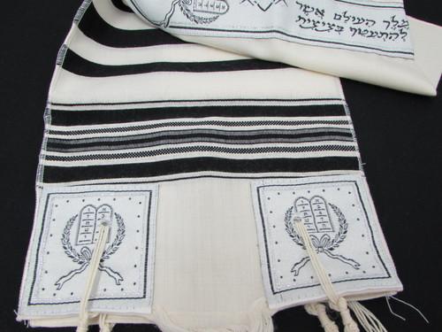 Size 8 Wool Black-Striped Children's Tallit