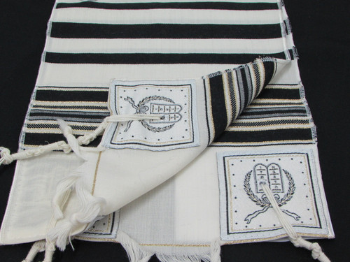 Size 8 Wool Black & Gold Striped Children's Tallit