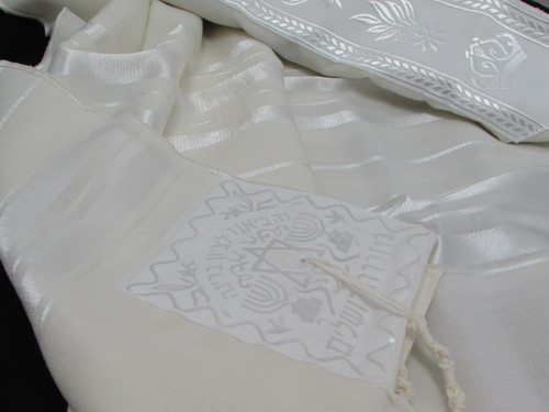 Size 40 Wool White-on-White Children's Tallit