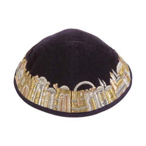 Black & Gold Embroidered Jerusalem Kippah