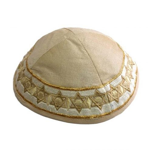 Gold Magen David Embroidered Kippah