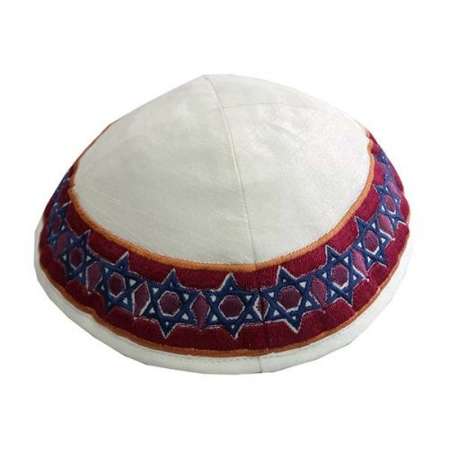 Blue & Burgundy Magen David Embroidered Kippah