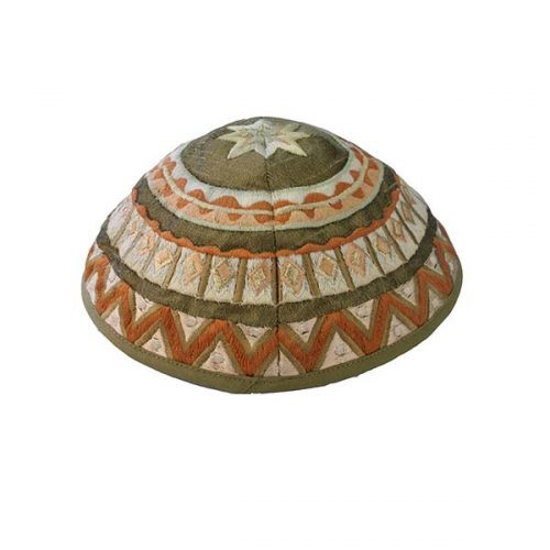 Olive & Tan Embroidered Kippah