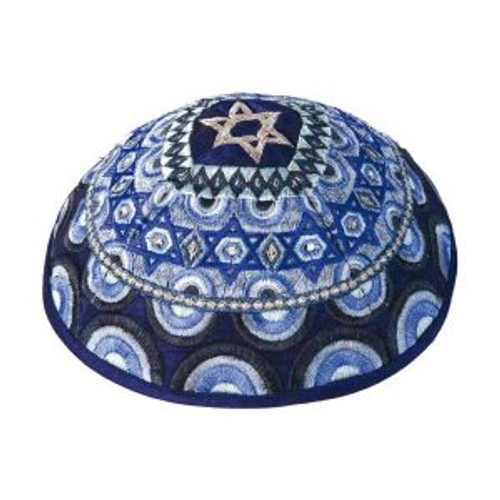 Magen David Blue Embroidered Kippah