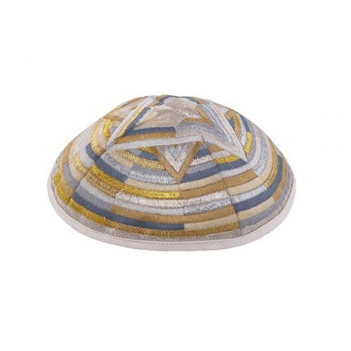 Contemporary Magen David Gold-Silver Embroidered Kippah