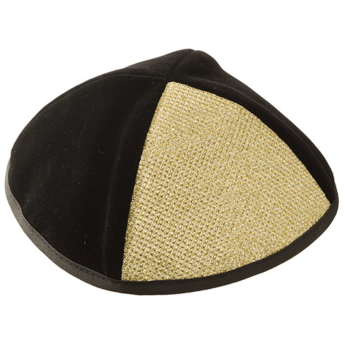 Black & Gold Velvet Kippah