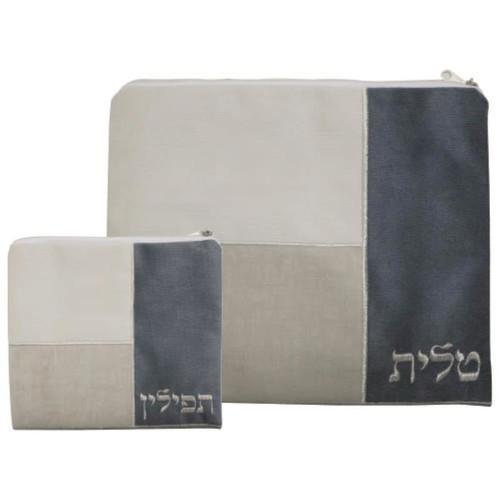 Beige, Tan & Gray Cloth Tallit Bag