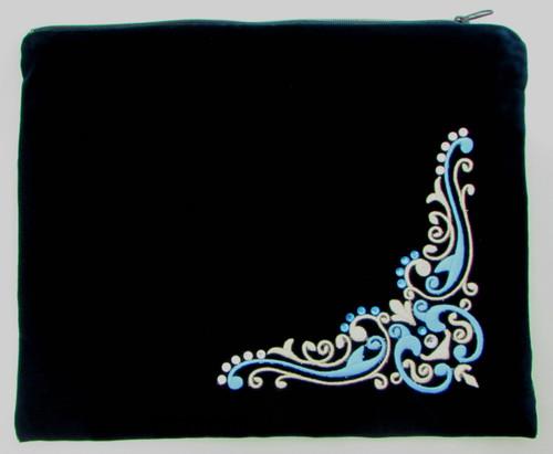 Blue Corner Design Tallit Bag with Swarovski Stones