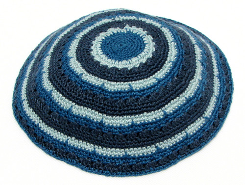 Blue Medley DMC Knitted Kippah