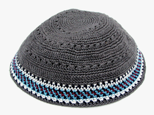 Gray DMC Knitted Kippah with Burgundy, White & Blue