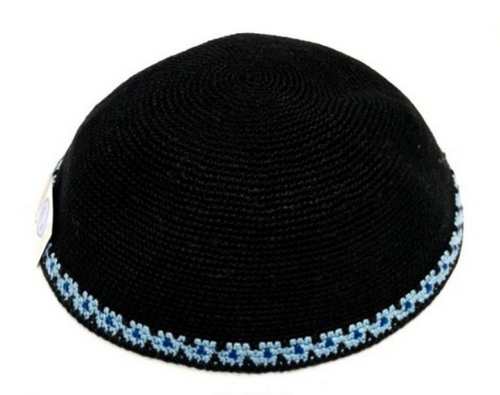 Black DMC Knitted Kippah with Blue Trim
