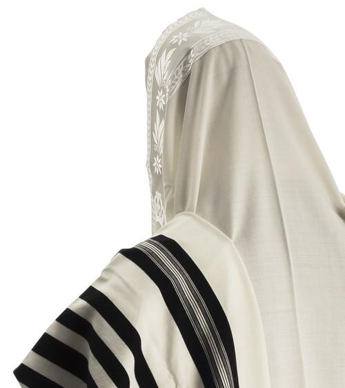 Keter Black-Striped Traditional Wool Tallit