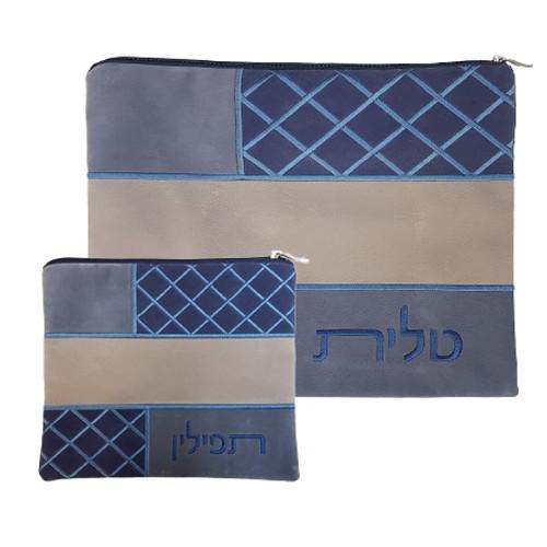 Blue Crisscross Pattern Faux Impala Tallit Bag