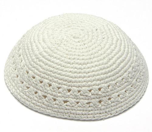 Large White Knitted Kippah