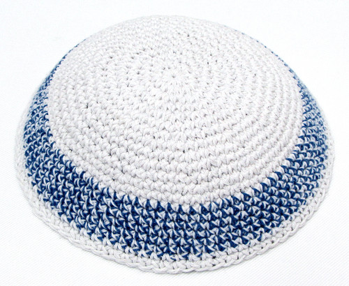 White Knitted Kippah with Spanish Blue Band