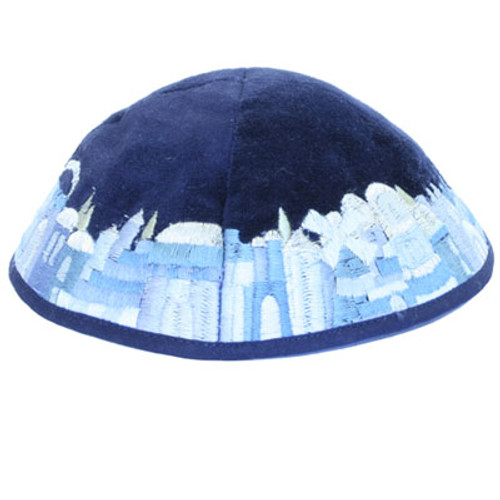 Velvet kippah with Jerusalem design in rich shades of blue