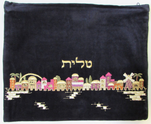 Velvet Jerusalem of Gold Tallit Bag
