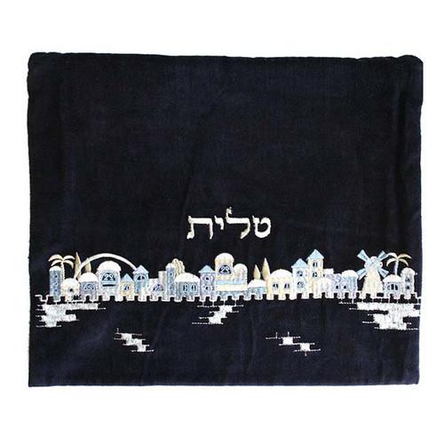 Velvet Jerusalem in Blue Tallit Bag