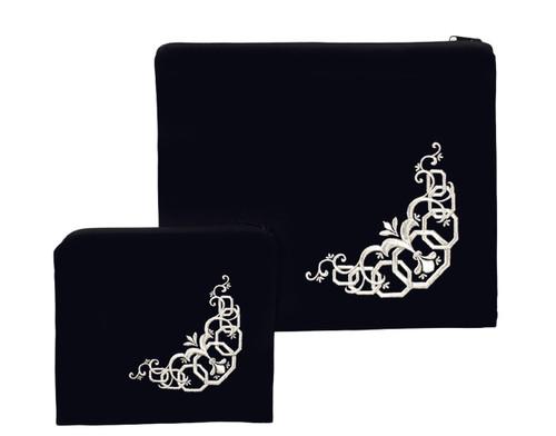 Velvet Silver Fleur-de-Lys Tallit Bag