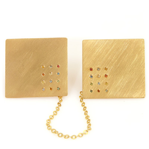 Gold Choshen Stones Tallit Clips