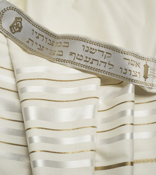 White-Gold Traditional Wool Tallit