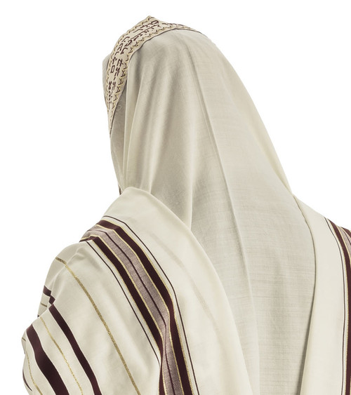 Burgundy-Gold Traditional Wool Tallit