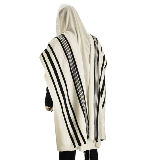 Black-Striped Traditional Wool Tallit