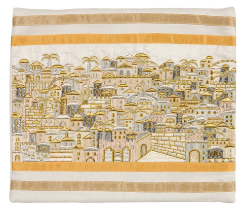 Raw Silk Jerusalem of Gold Tallit Bag