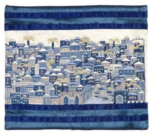 Raw Silk Jerusalem in Blue Tallit Bag