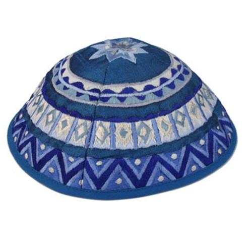 Blue Embroidered Kippah