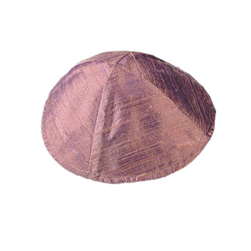 Salmon Red Raw Silk Kippah