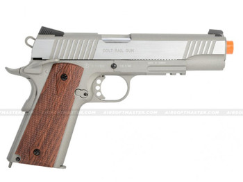 Colt 1911 Rail Government GBB CO2 Airsoft Pistol Silver Left
