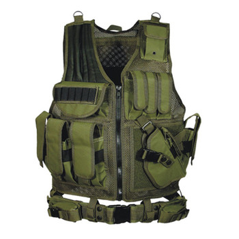 UTG Tactical Vest with Cross Draw Holster Olive Drab