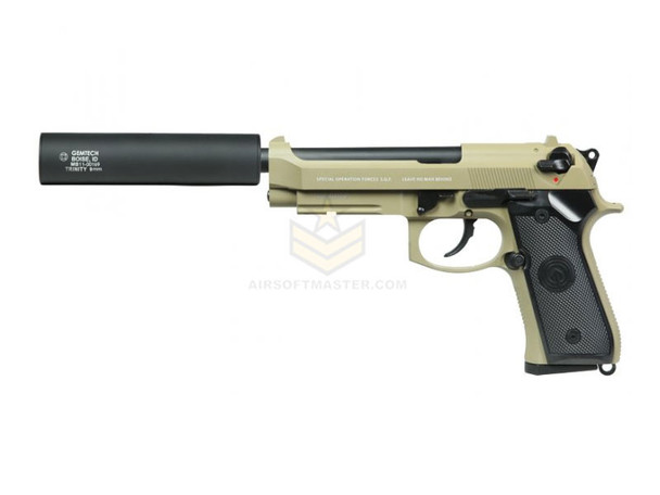 Socom Gear M9 GBB Pistol With Gemtech Trinity Silencer - Tan