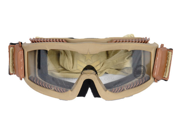 Lancer Tactical CA-221T Airsoft Safety Goggles  ANSI Certified Tan / Clear Lens
