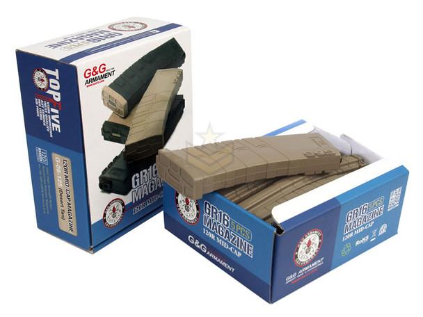 G&G M4 MidCap Magazine Polymer 120-Rounds 5-Pack Tan