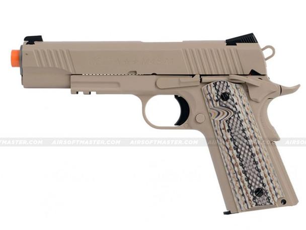 Colt 1911 Rail Government GBB CO2 Airsoft Pistol Tan