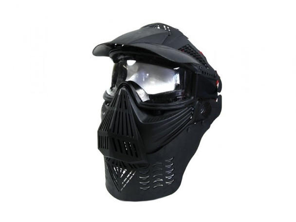 Bravo Modular Full Face Mask for Airsoft with Lens Goggles (Black)