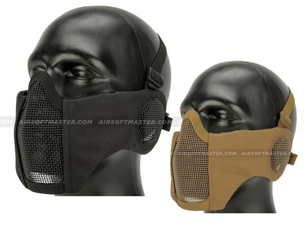 Striker Airsoft Mesh Mask Half Face w/ Ear Cover