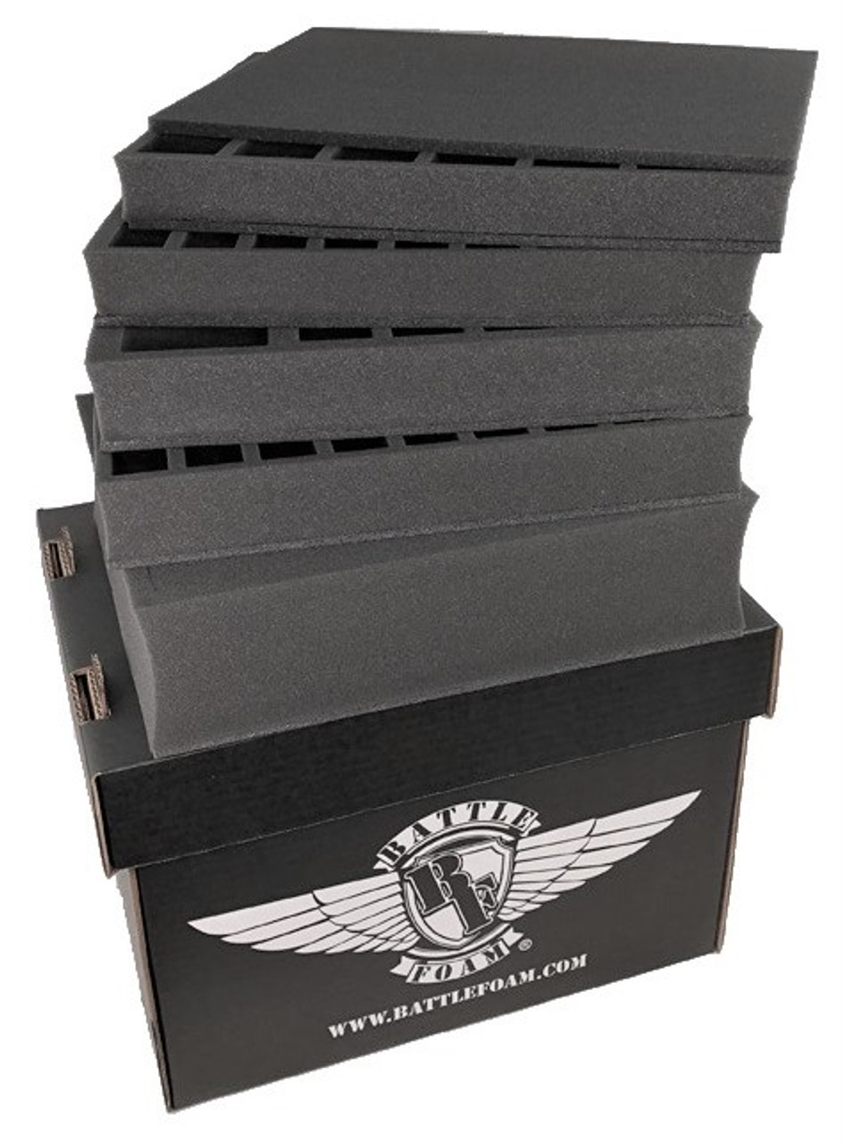 Battle Foam Large Stacker Box Standard Load Out Black Battle Foam Battlefoam carries many specifically designed bags and trays for certain games/armies but they can be less available and vary in price. battle foam large stacker box standard load out black