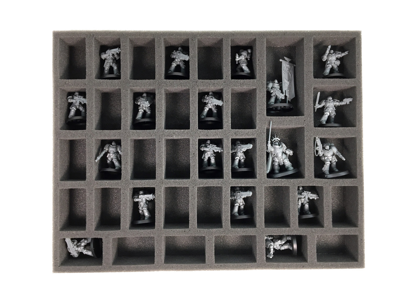 Primaris Marine Foam Kit For The P A C K 720 Bfl Battle Foam 1.5 inch (38 mm) thick tray with 33x 2 1/8 x 1 1/4 inch (53 x 31 mm) cut outs. battle foam