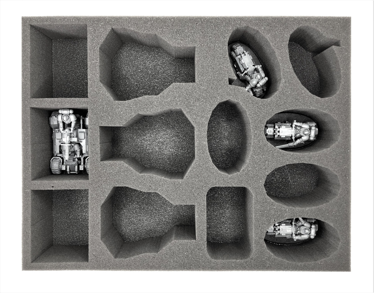 Space Marine 3 Primaris Invader Atv 3 Land Speeder 6 Primaris Outrider Foam Tray Bfl 3 Battle Foam 1.5 inch (38 mm) thick tray with 33x 2 1/8 x 1 1/4 inch (53 x 31 mm) cut outs. space marine 3 primaris invader atv 3 land speeder 6 primaris outrider foam tray bfl 3