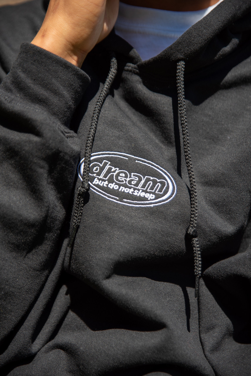 Hoodie in Black With Oval Logo Embroidery