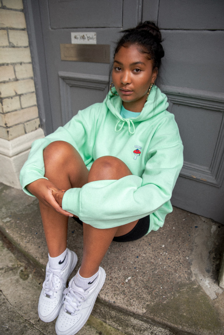 Hoodie in Mint With Bro Shroom Embroidery